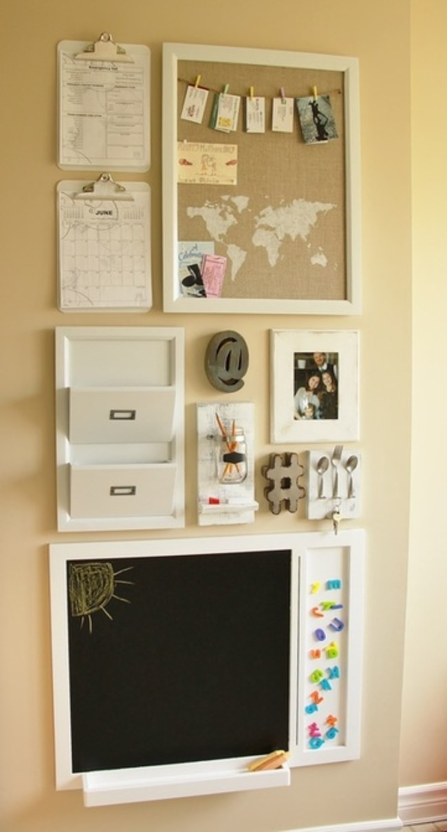 10 diy family command center ideas tip junkie for Kitchen cork board ideas