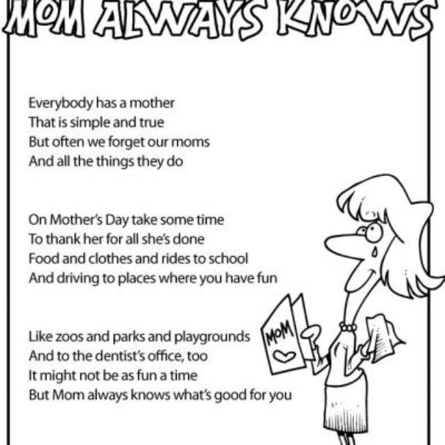 Mother's Day Kids Poems  {free printable}