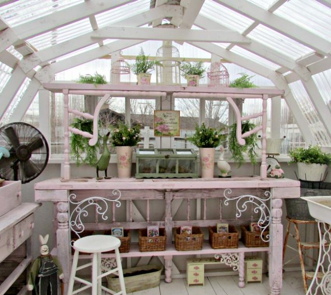 Old Door Greenhouse Potting Table