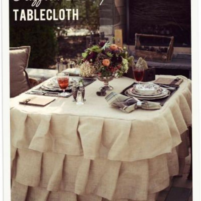 Burlap and Ruffle Tablecloth Tutorial {Home Accessories}