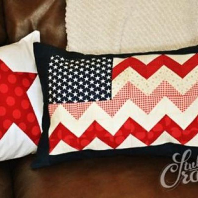 Chevron Flag Pillow Tutorial {Patriotic Decor}