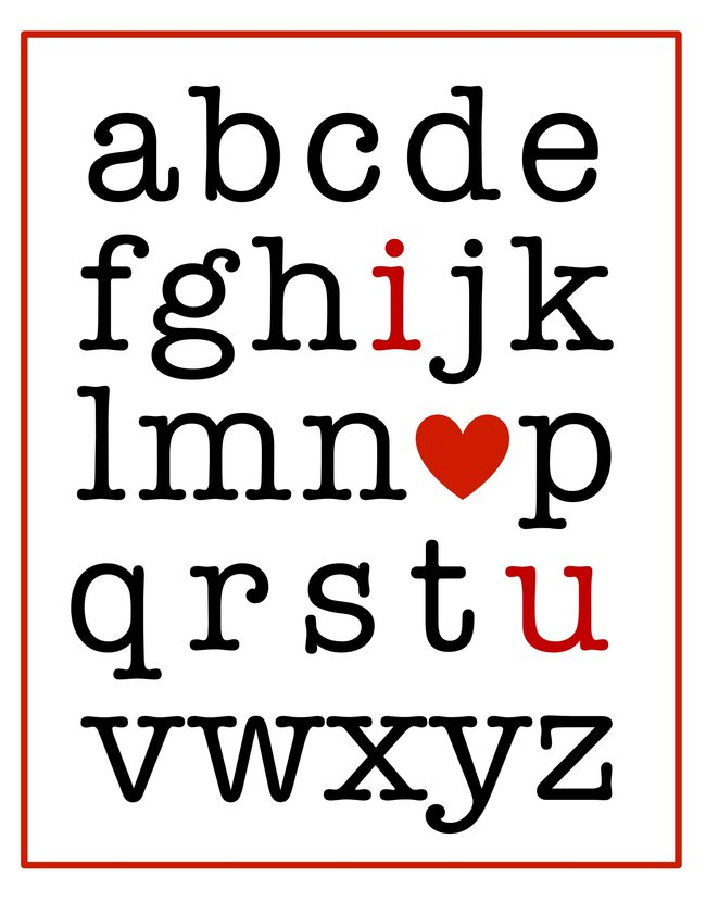 I (heart) You alphabet