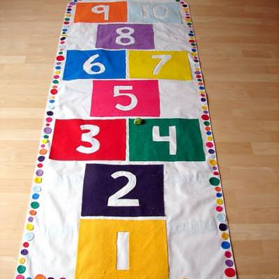 DIY Indoor Hopscotch Mat {No-Sew}