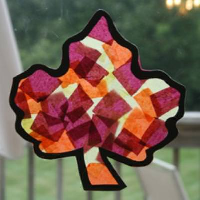 Tissue Paper Fall Leaf {Kids Paper Crafts}