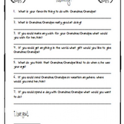 Grandparent's Day Printable Questionnaire