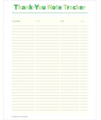 Thank You Note List Printable – Printable Thank You Note