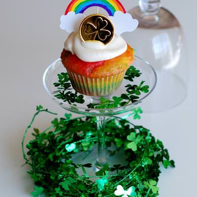 Rainbow Cupcakes and Toppers for St. Patricks Day