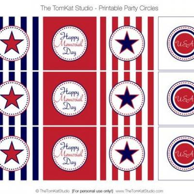 graphic relating to Memorial Day Printable titled Memorial Working day Celebration Circles totally free printable Idea Junkie