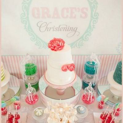 Pretty as a Picture Christening {dessert table ideas}
